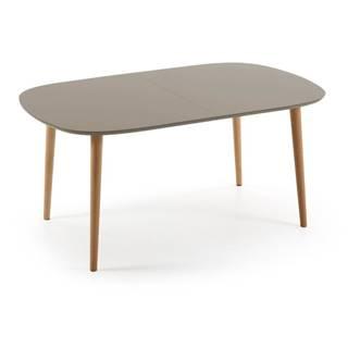 Sivý rozkladací jedálenský stôl La Forma Oakland, 100x160/260cm