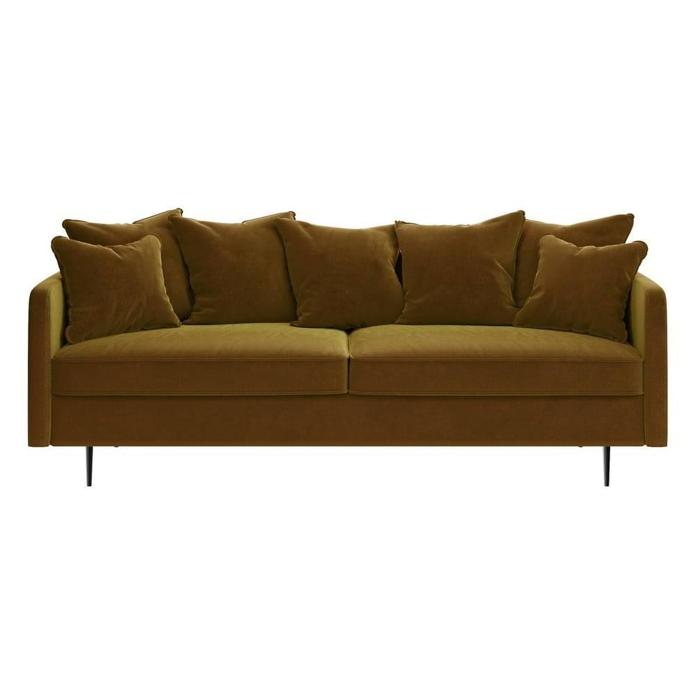 Ghado Medovožltá zamatová pohovka Ghado Esme, 214 cm