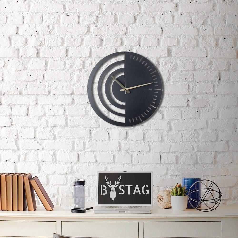 Bystag Kovové nástenné hodiny Black, 50×50 cm