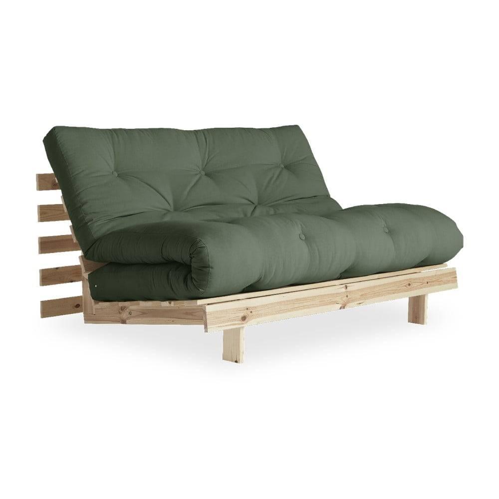 Karup Design Rozkladacia pohovka so zeleným poťahom Karup Design Roots Raw/Olive Green