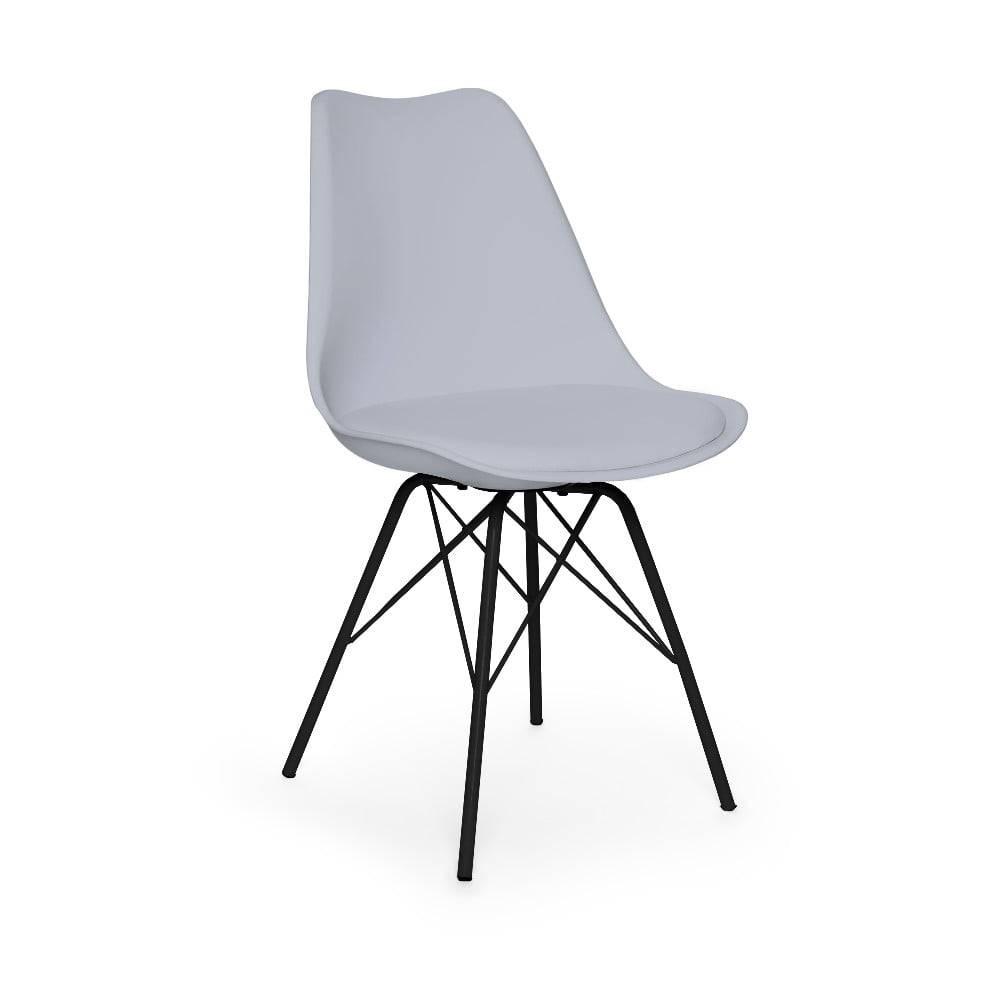 loomi.design Sivá stolička s čiernym podnožím z kovu loomi.design Eco