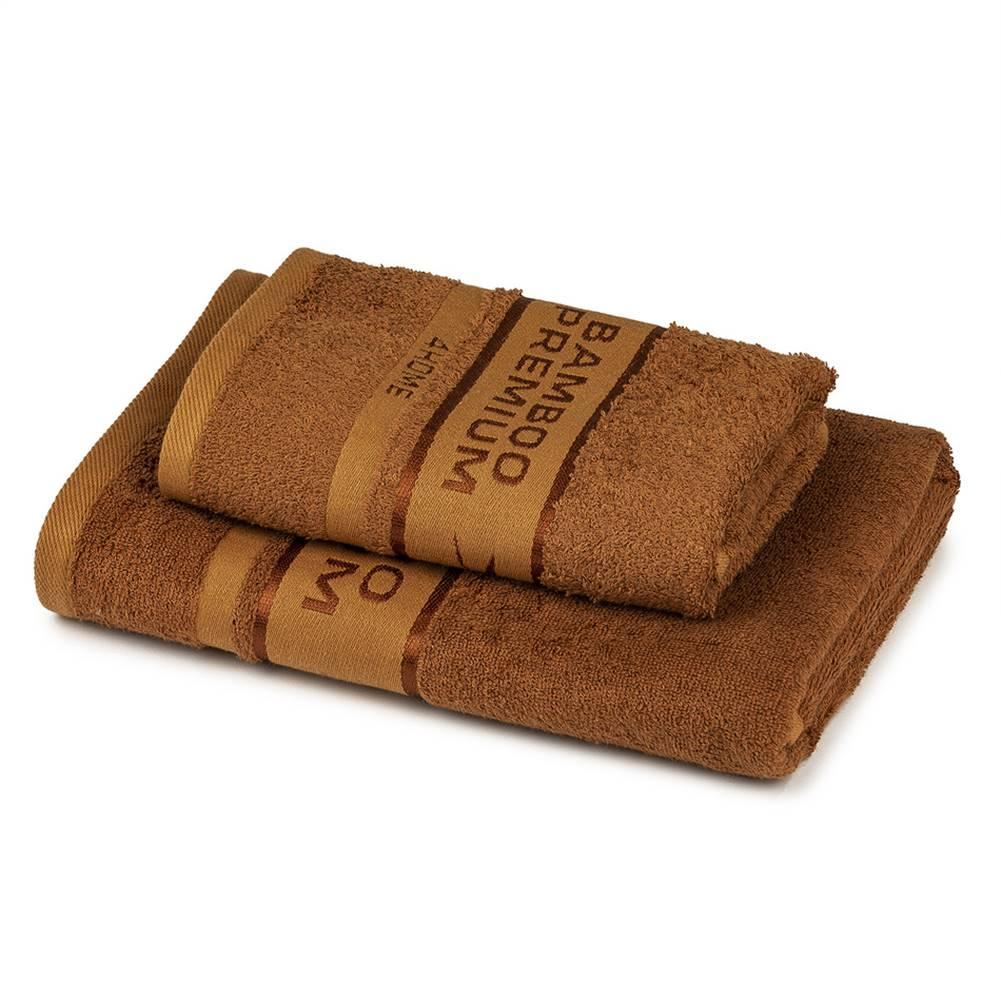 4Home 4Home Sada Bamboo Premium osuška a uterák hnedá, 70 x 140 cm, 50 x 100 cm