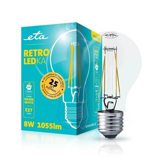 LED žiarovka ETA Retro LEDka klasik filament 8W, E27, teplá biely