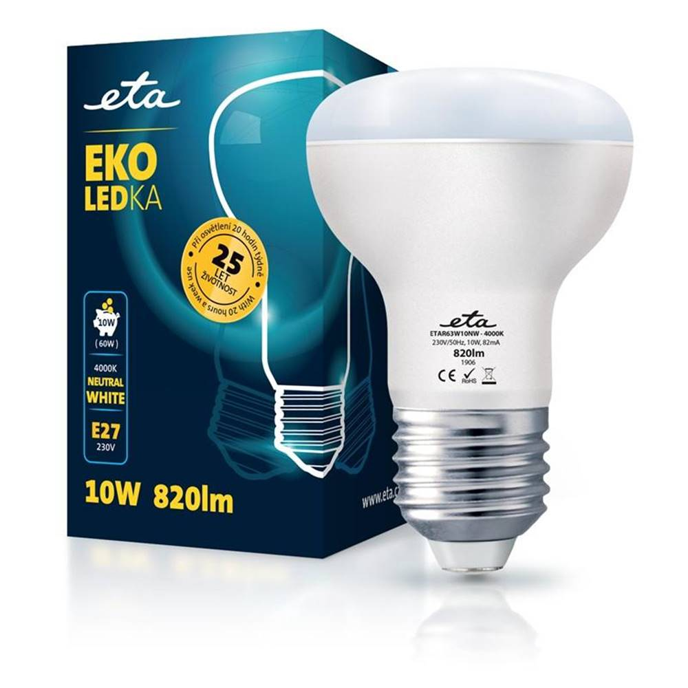 Eta LED žiarovka ETA EKO LEDka reflektor 10W, E27, neutrálna biela