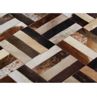 Luxusný kožený koberec hnedá/čierna/béžová patchwork 170x240  KOŽA TYP 2