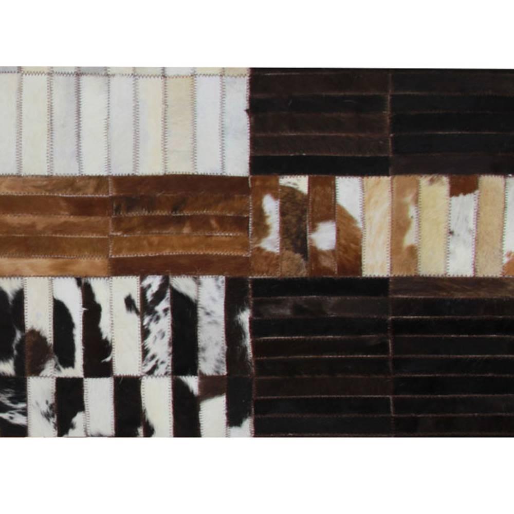 Tempo Kondela Luxusný kožený koberec čierna/hnedá/biela patchwork 120x180 KOŽA TYP 4