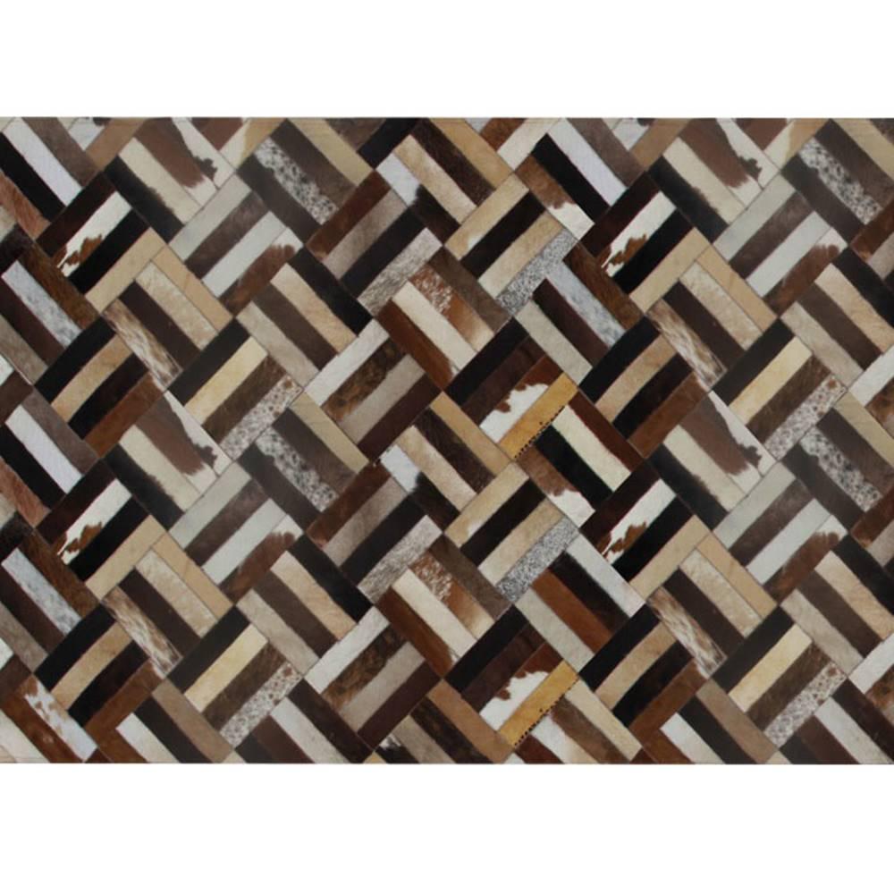 Tempo Kondela Luxusný kožený koberec hnedá/čierna/béžová patchwork 140x200  KOŽA TYP 2