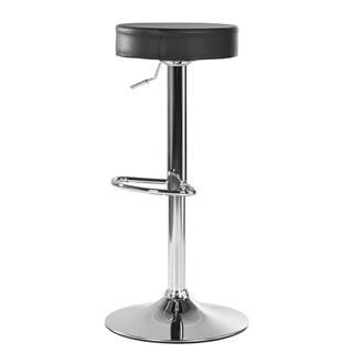 Barová stolička čierna ekokoža/chróm ADALIN