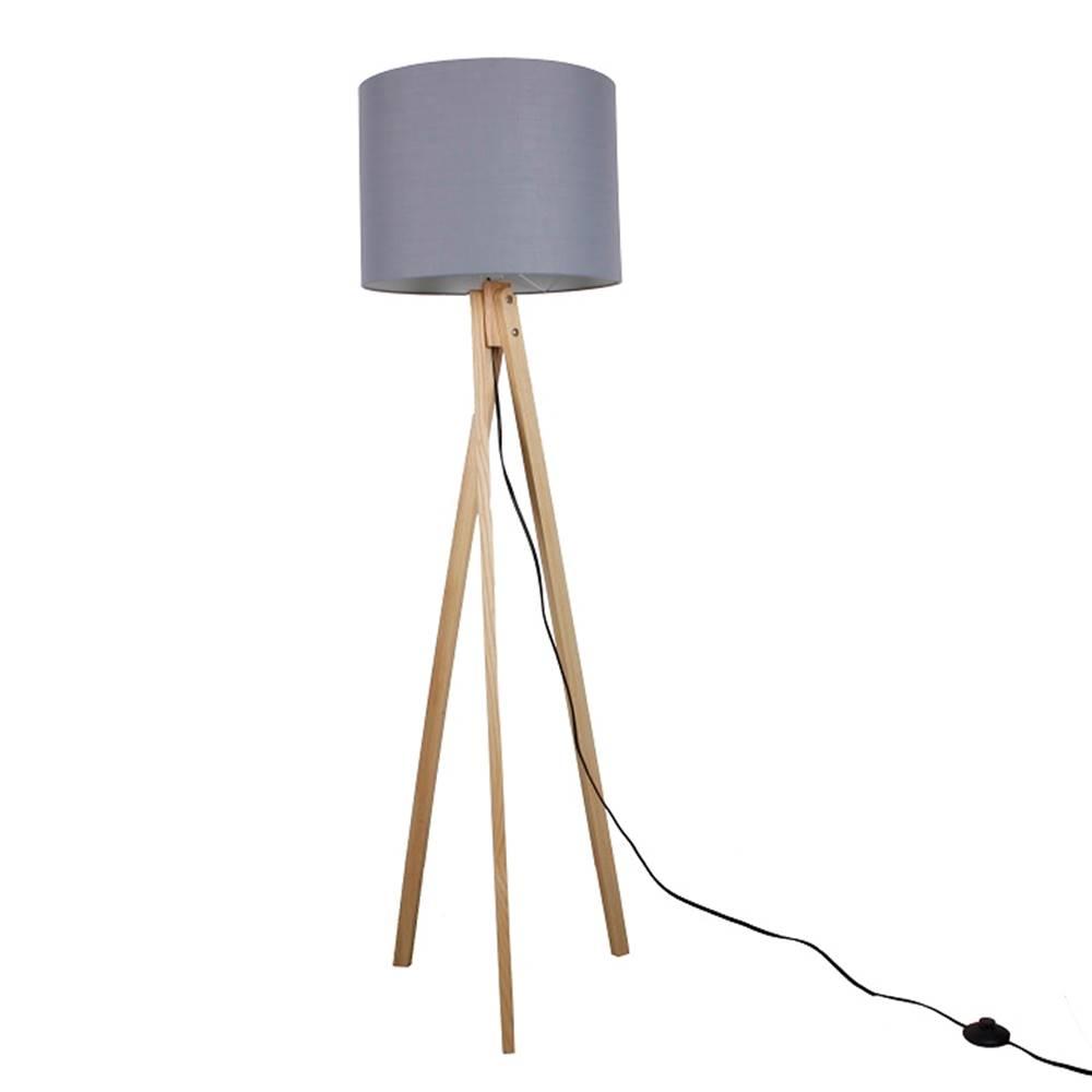Tempo Kondela Stojacia lampa sivá/prírodné drevo LILA TYP 7 LS2062