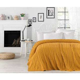 Horčicovožltá prikrývka cez posteľ Knit, 220 x 240 cm