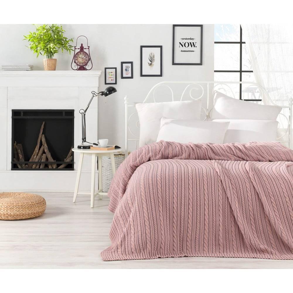 Homemania Púdrovoružová prikrývka cez posteľ Camila, 220 x 240 cm