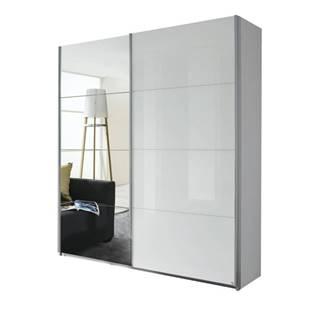 Šatníková skriňa QUADRA 226 biela vysoký lesk/zrkadlo