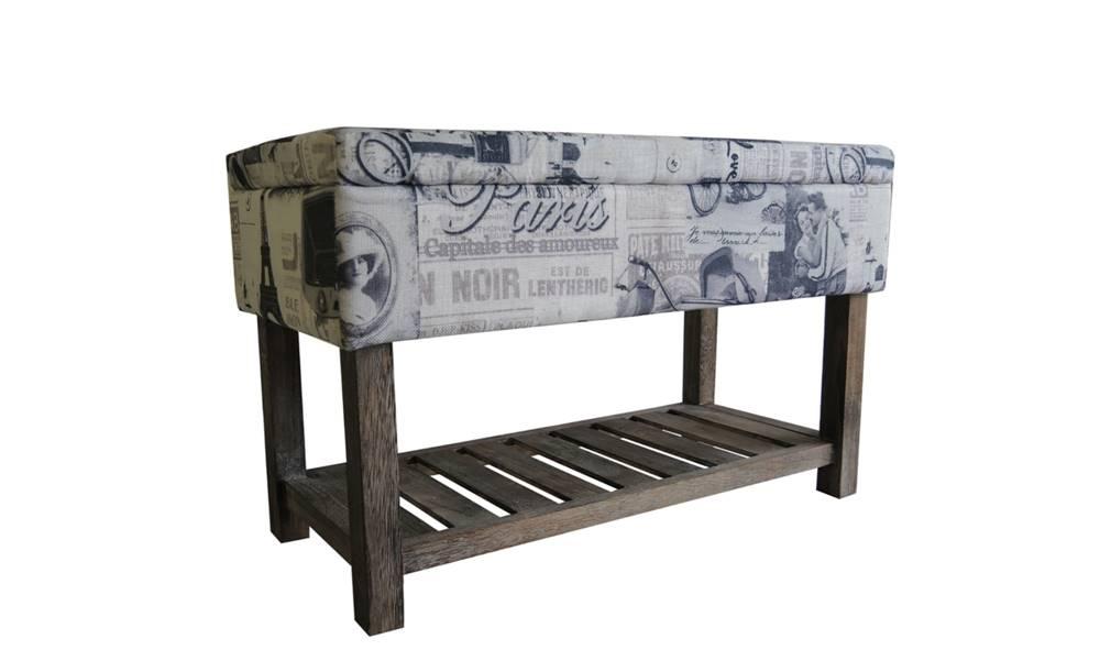 Sconto Úložný taburet PARIS 001 krémová s potlačou/hnedá