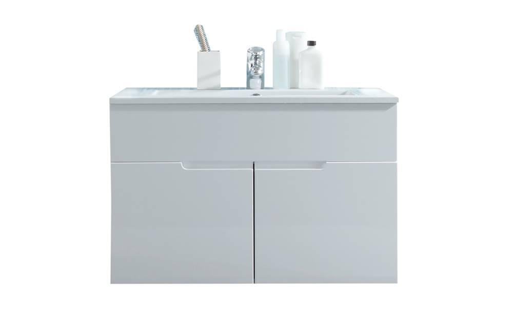 Sconto Umývadlová skrinka s umývadlom SPICE biela vysoký lesk